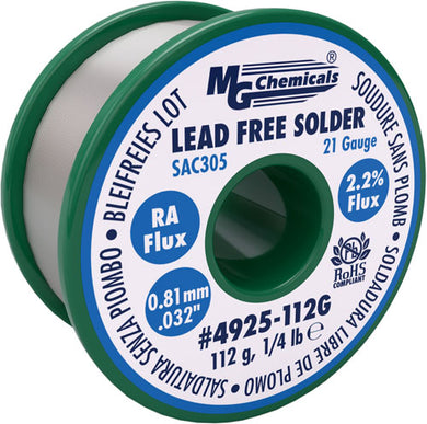 "SAC305, 96.3% Tin, 0.7% Copper, 3% silver, Lead Free, RA Flux, .8mm, .03"" Dia., 4925-112G"