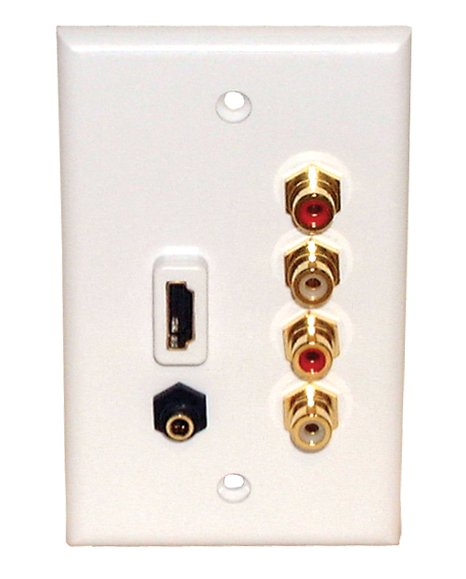 HDMI+(4) RCA Audio+3.5mm St. Jack Wall Plate, 75-1065