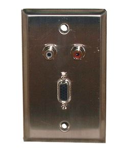 Stainless Steel Wall Plate VGA + (2) RCA Feed-Thru Jack, 75-1096