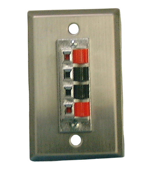 Stnls Stl Wall Plate-4 Pos Speaker Term, 75-1674