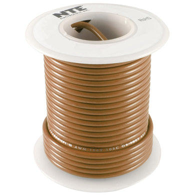 25' Hook-Up Wire, 16 Awg, Stranded, Brown, WH616-01-25