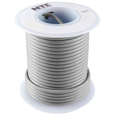 25' Hook-Up Wire, 16 Awg, Stranded, Gray, WH616-08-25