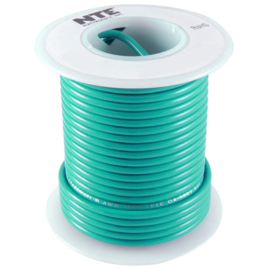 25' Hook-Up Wire, 14 Awg, Stranded, Green, WH614-05-25