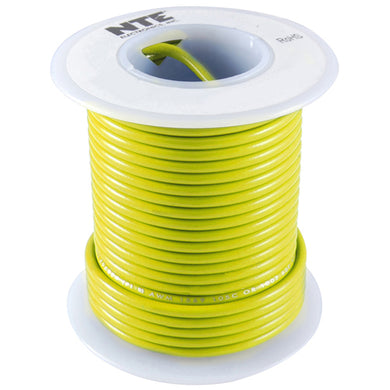 25' Hook-Up Wire, 16 Awg, Stranded,  Yellow, WH616-04-25