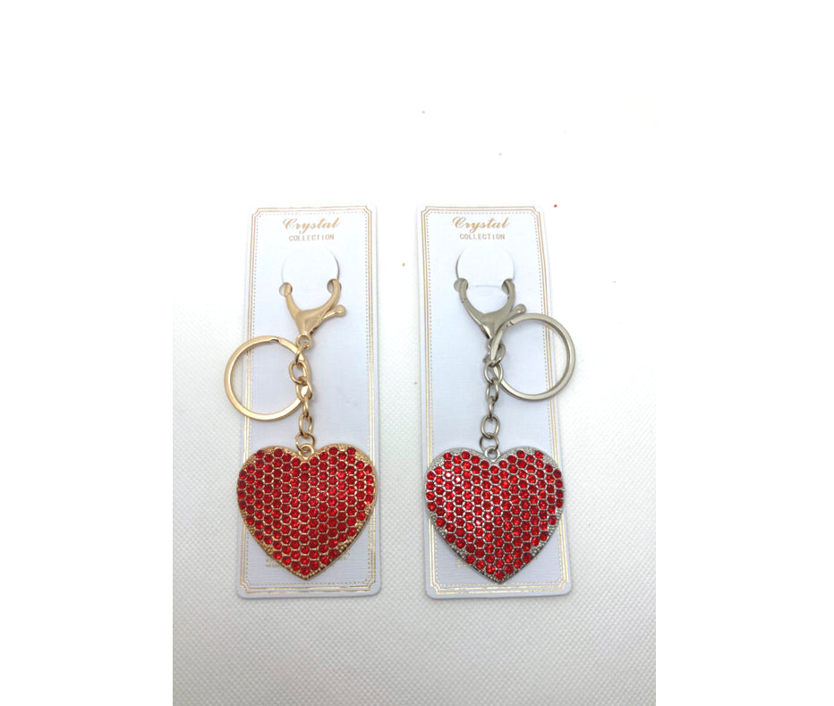 RED Heart Rhinestone Keychain