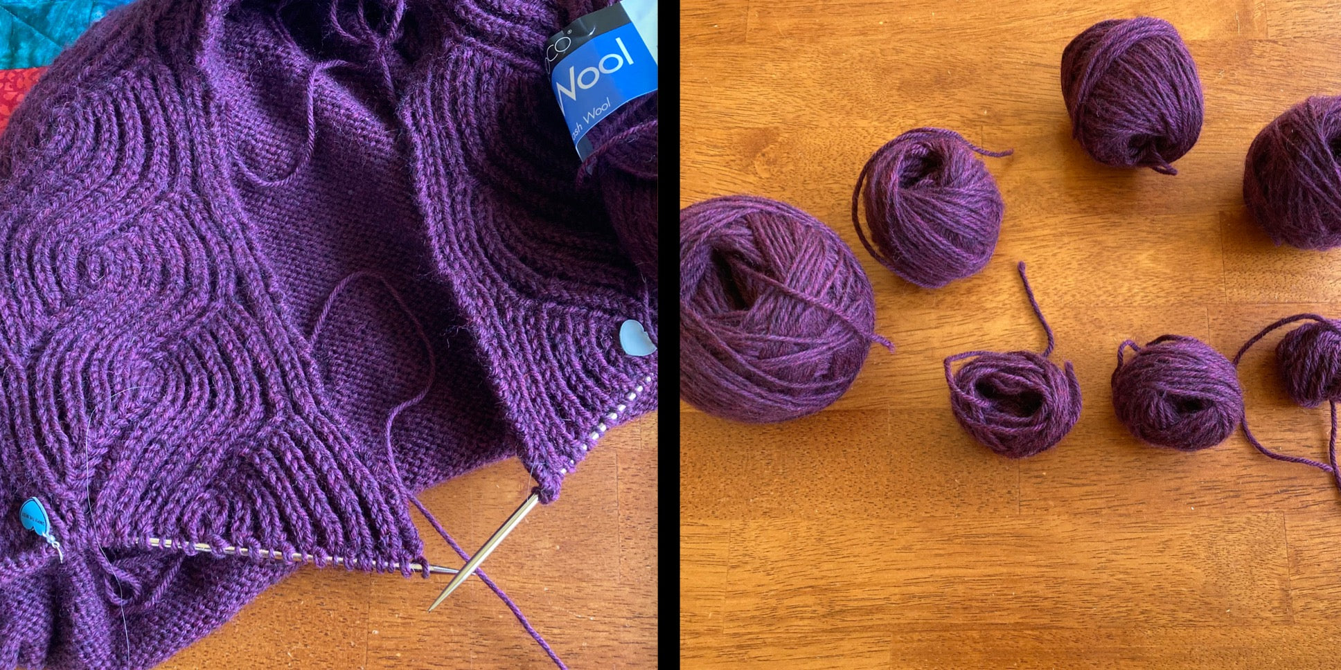 Split image of a partially completed deep plum sweater with brioche lapels on the left, and seven small hand wound balls on the right after the project was frogged in order to correct a catastrophic mistake.