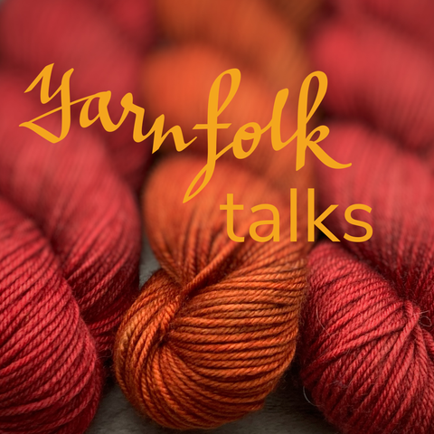 "three red and orange skeins of yarn with the words ""Yarn Folk talks"""