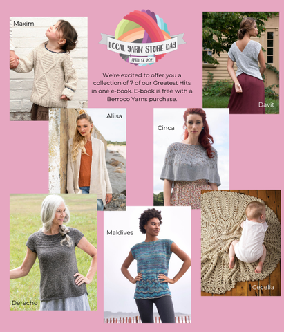 Photographs of knitted items on a pink background, with the Local Yarn Shop Day logo in the top center. There is a cabled child's pullover, a woman's cardigan, a capelet, three styles of knitted tees, and a circular lace blanket.