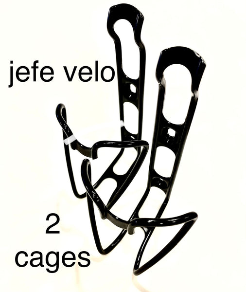 Jefe Velo TWO bottle cages + TWO bottle retention straps + hardware