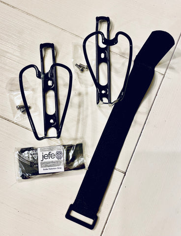 TWO bottle cages + TWO bottle retention straps + hardware