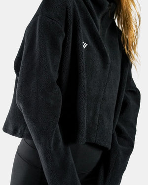 Load image into Gallery viewer, Fleece Tulip Jacket - Black