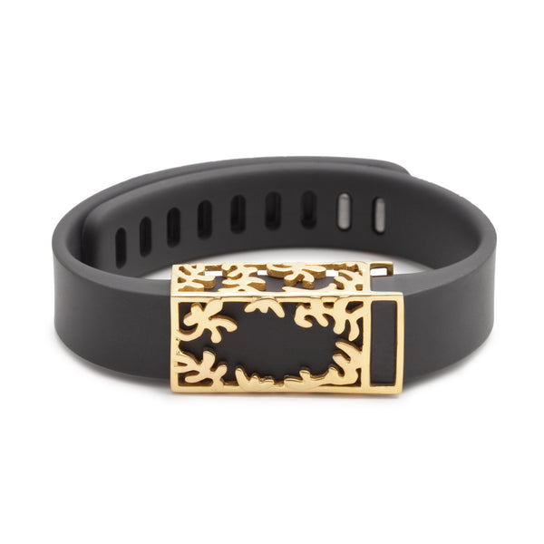 Fitbit Flex with Bytten slide - 14k gold Matisse slide sample