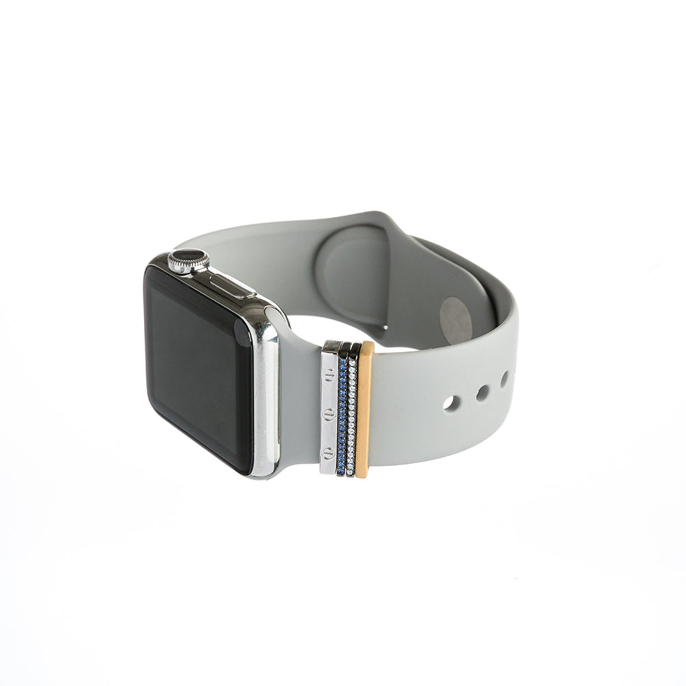 Bytten Africa Stack on silver Apple Watch with grey sport band