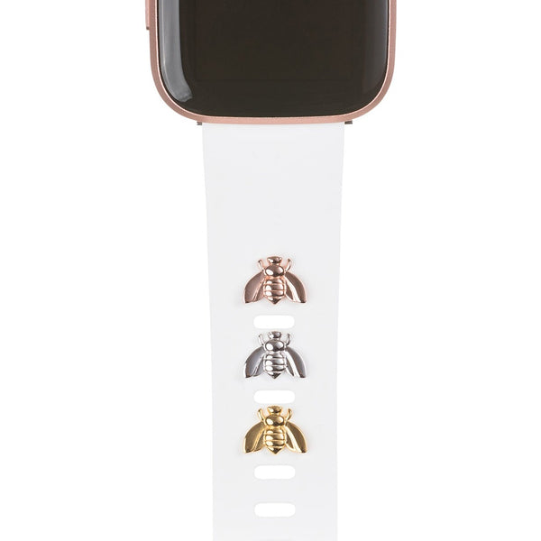 bytten bee Studs for Fitbit on white Classic band