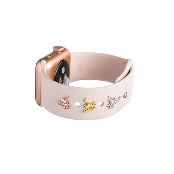 Bytten bee Studs for Apple Watch on pink Sport band