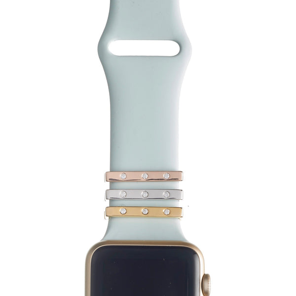 Bytten triple cz clasp accessory for Apple Watch on light blue sport band