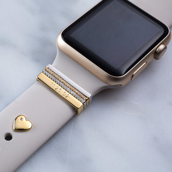 Series 4 Gold Apple Watch with sand Sport band and gold luxe glam stack with engraved gold 3mm ring