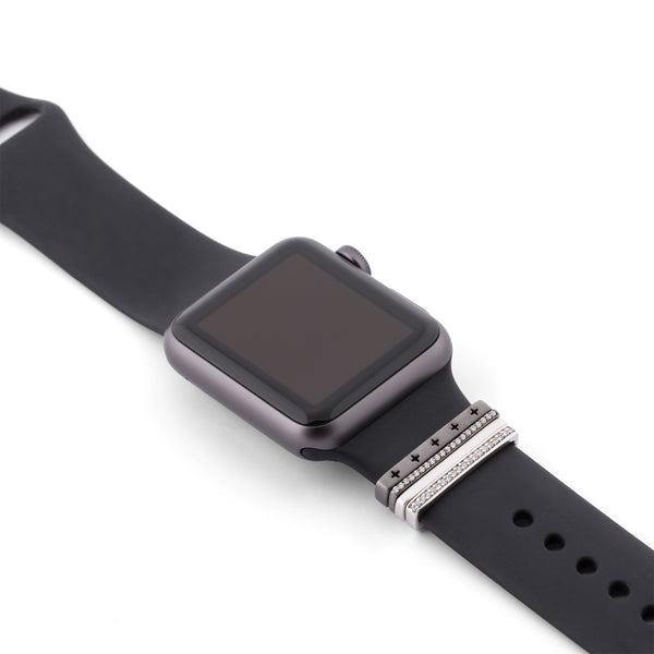 Space Grey Apple Watch Sport on black band with Bytten Glam Stack - black rhodium