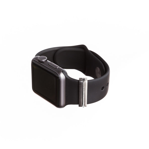 Space Grey Apple Watch Sport with Bytten mini Glam Stack on black band - black rhodium