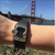 Fitbit Charge on wrist with Bytten Matisse Frame - polished brass