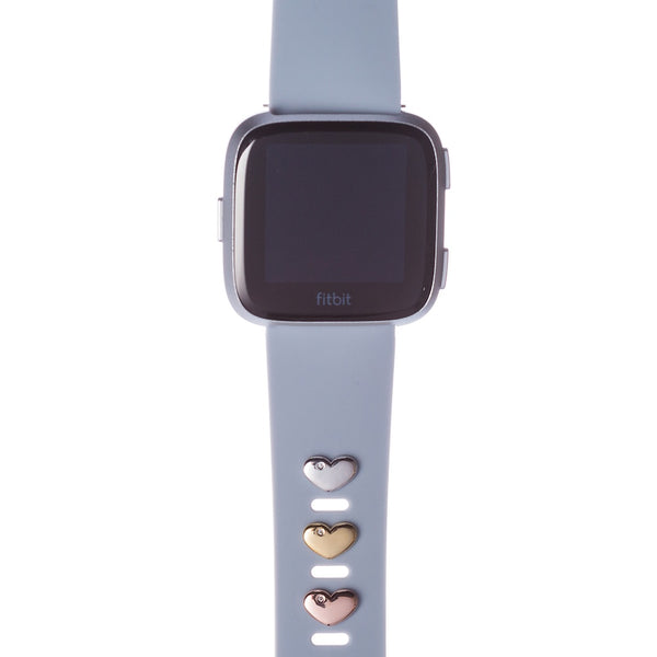 Bytten heart Studs for Fitbit on lavender classic band