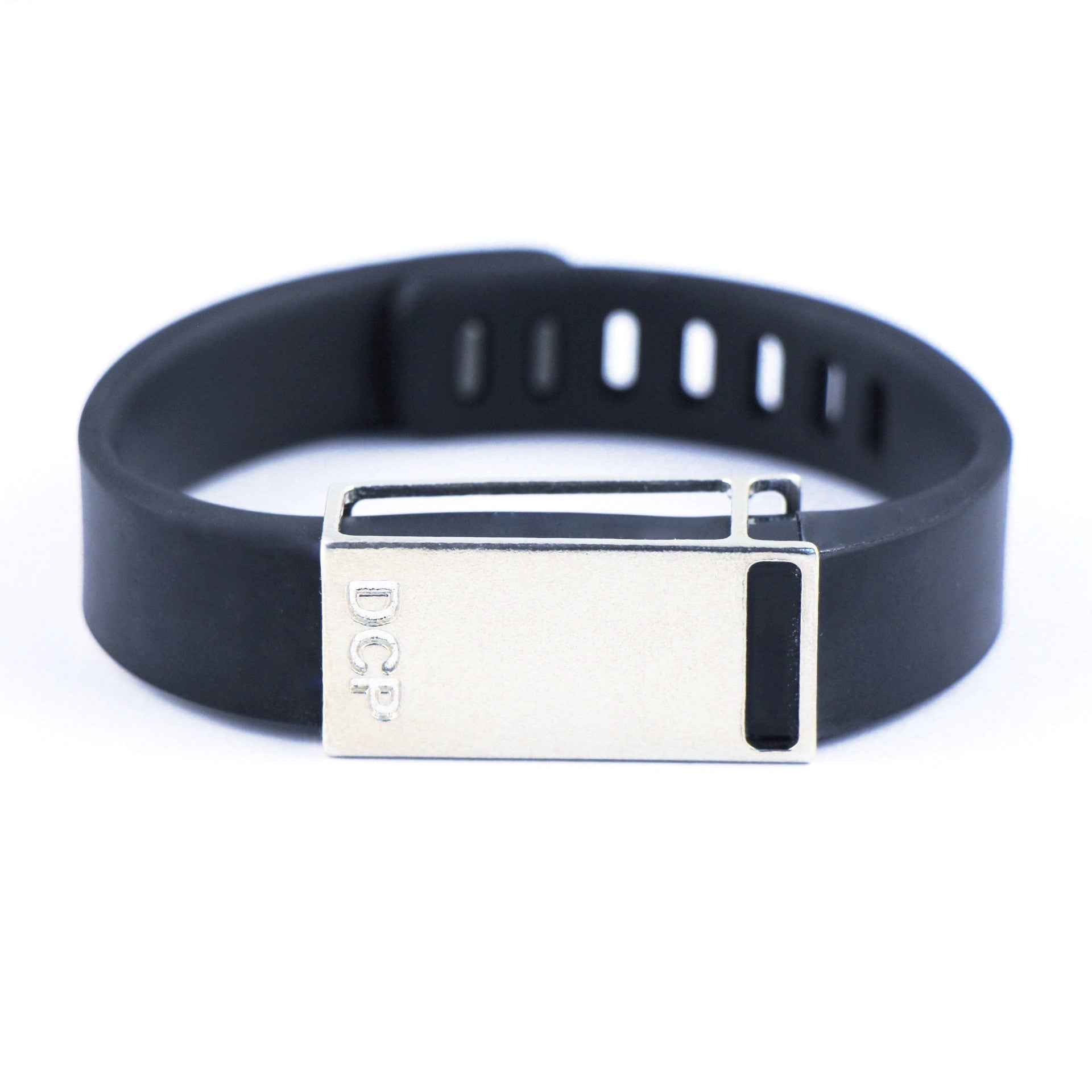 Fitbit Flex with Bytten Custom™ Rasa slide and engraved DCP monogram - sterling silver