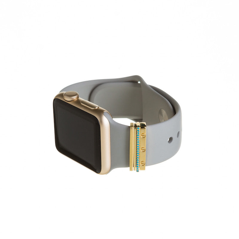 Gold Apple Watch with concrete Sport band and Bytten Azul Stack accessory - gold