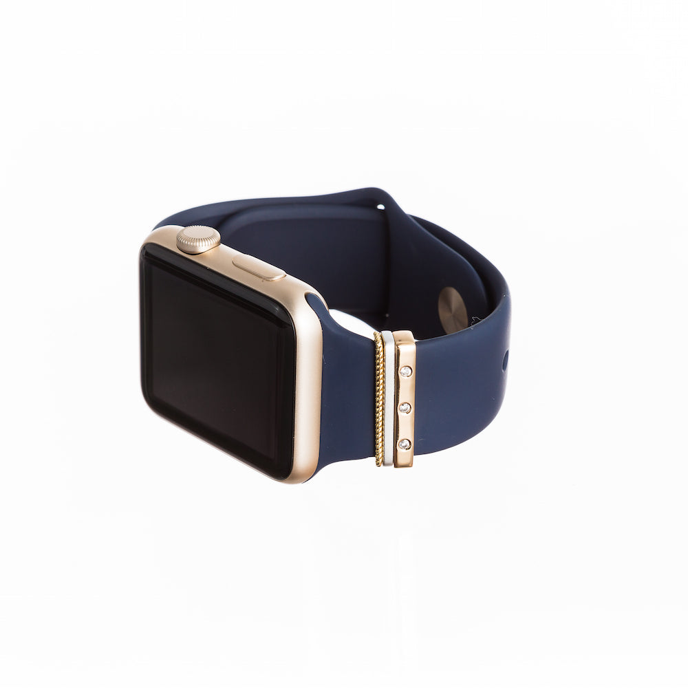 gold Apple Watch Sport with Bytten mini gold Glam Stack on navy band - gold