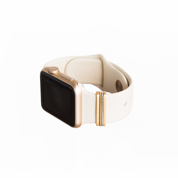 Gold Apple Watch with Bytten mini Classic Stack on white sport band - double rope
