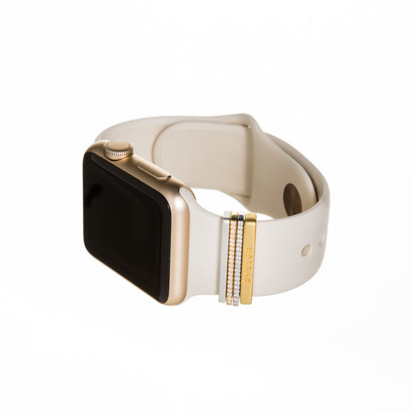 Gold Apple Watch Sport with antique white band and Bytten Glam Stack - gold luxe
