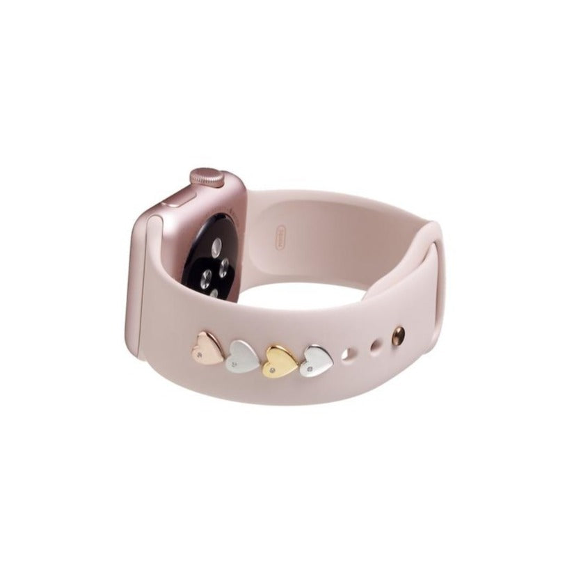 Bytten heart Studs for Apple Watch on pink Sport band