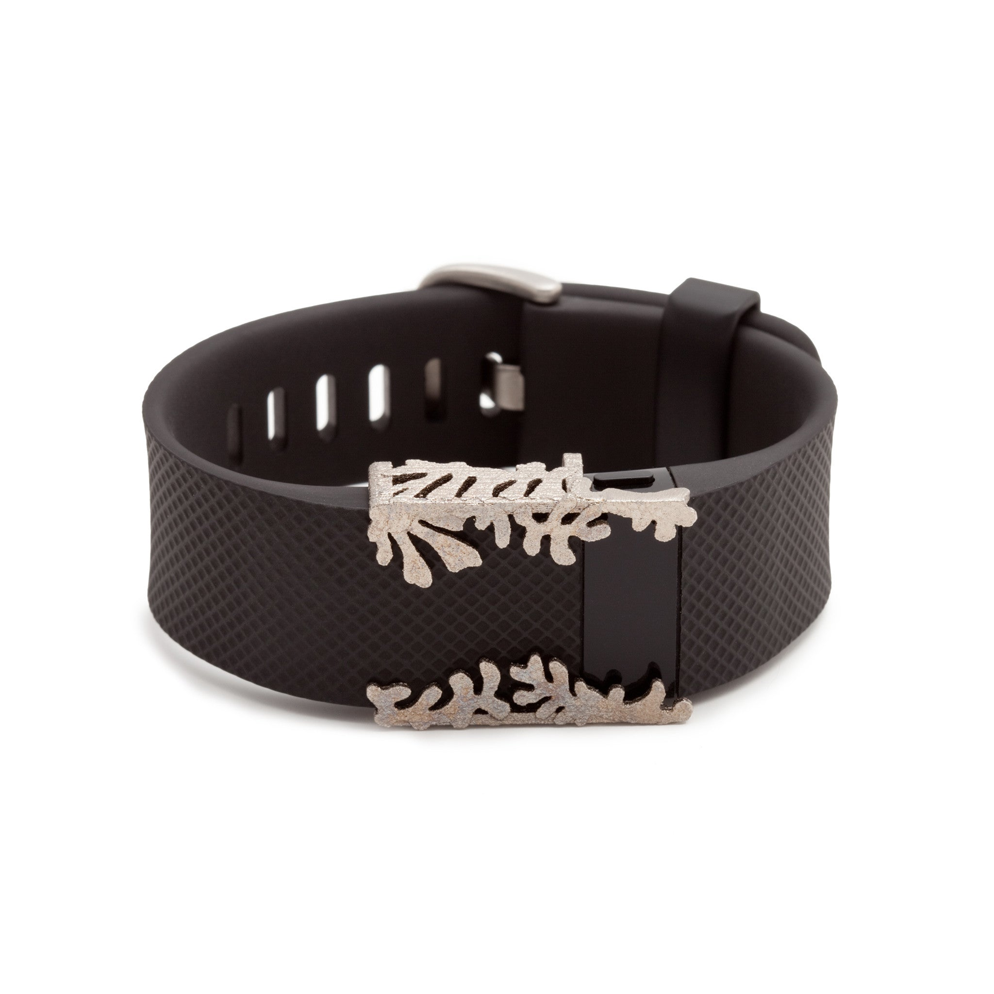 Fitbit Charge with Bytten Matisse Cuff - nickel steel