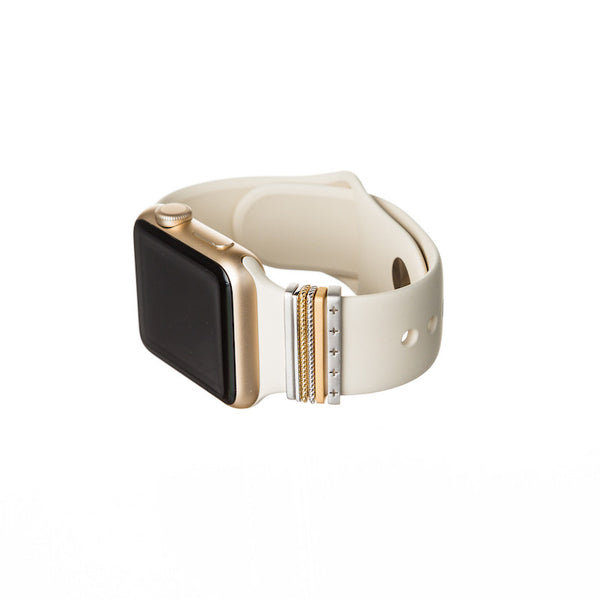 Bytten Classic Stack Accessory with gold Apple Watch on antique white Sport band - 38mm sport