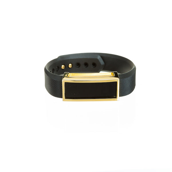 Gold Fitbit Alta with black band and Bytten Madison frame accessory - polished gold