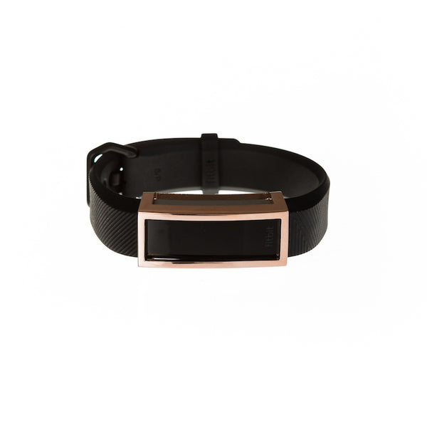 Fitbit Alta HR with black band and Bytten Madison frame accessory - polished rose gold