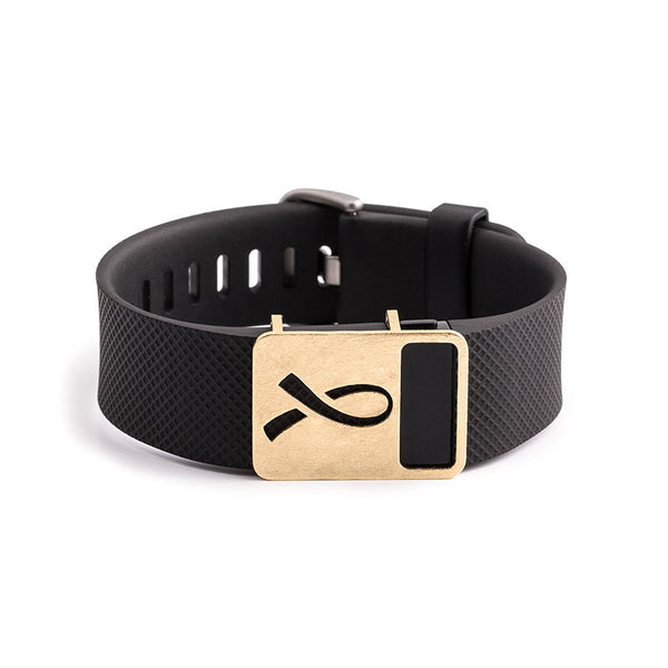 Fitbit Charge with Bytten Renee ribbon slide - rustic brass