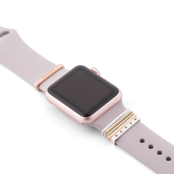 Rose Gold Apple Watch Sport on lavender band with Bytten Classic Stack and clasp - rose gold clasp