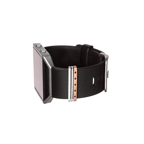 Fitbit Blaze smartwatch with Bytten mini Classic Stack accessory - rose gold