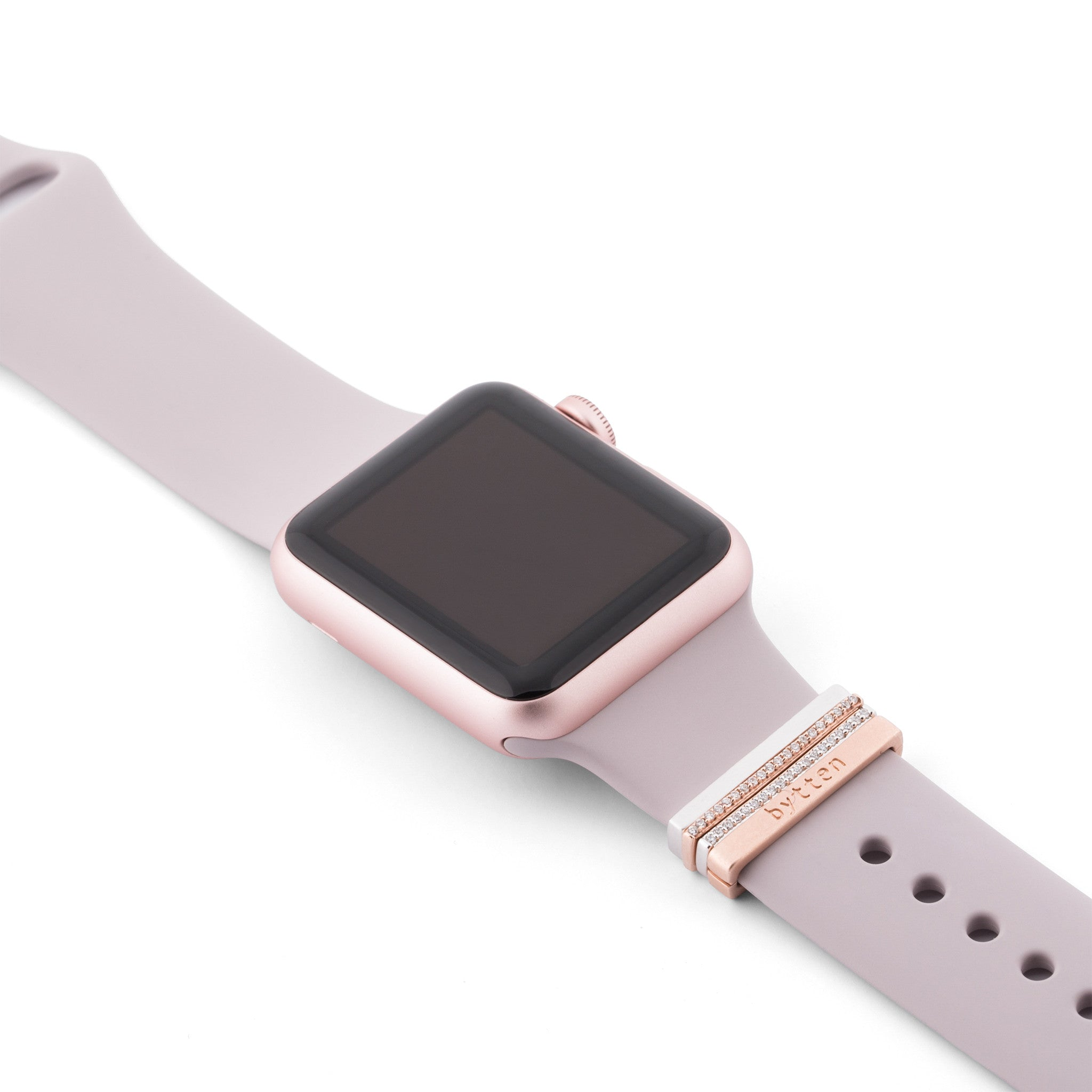 Rose Gold Apple Watch Sport on lavender band with Bytten Glam Stack - rose gold
