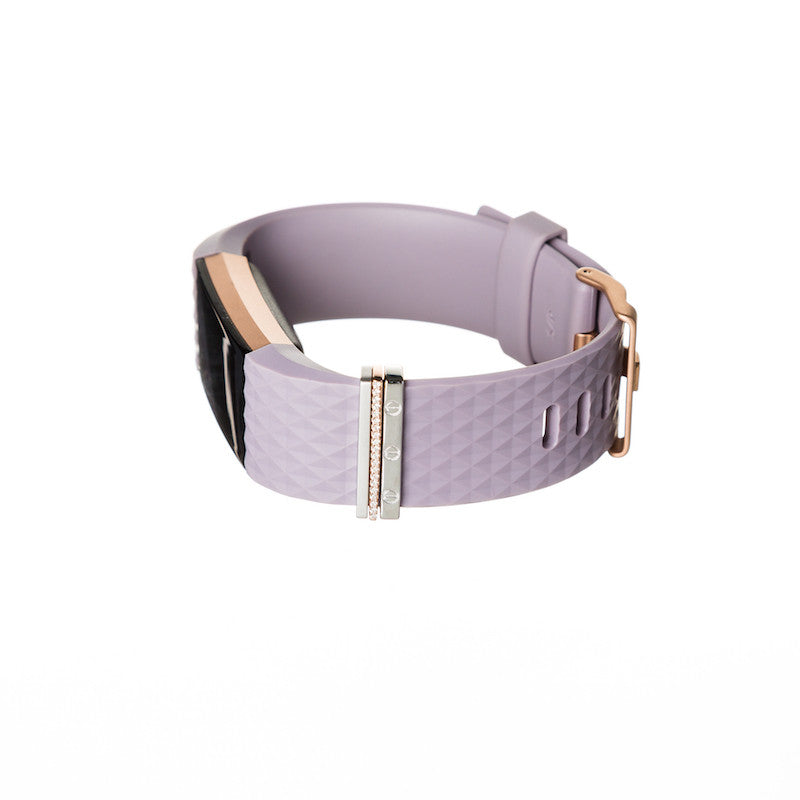 Rose Gold Fitbit Charge 2 with Bytten mini rose gold Glam Stack on lavender band - rose gold