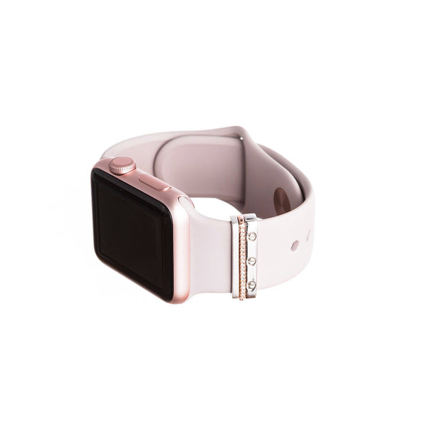 Series 1 Rose Gold Apple Watch with Bytten mini Glam Stack on pink band - rose gold