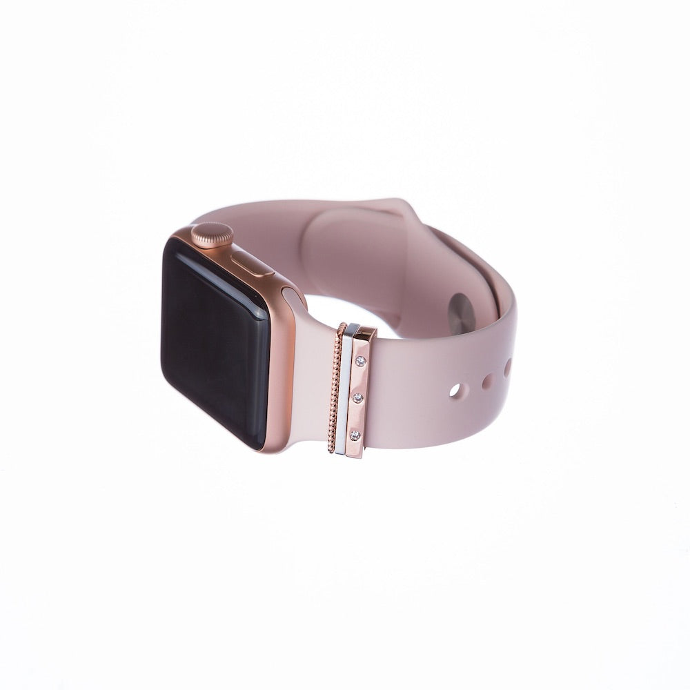 Series 3 gold Apple Watch with Bytten mini rosier Glam Stack on pink sand band - rosier gold