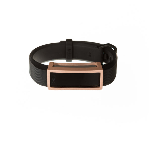 Fitbit Alta HR with black band and Bytten Madison frame accessory - satin rose gold