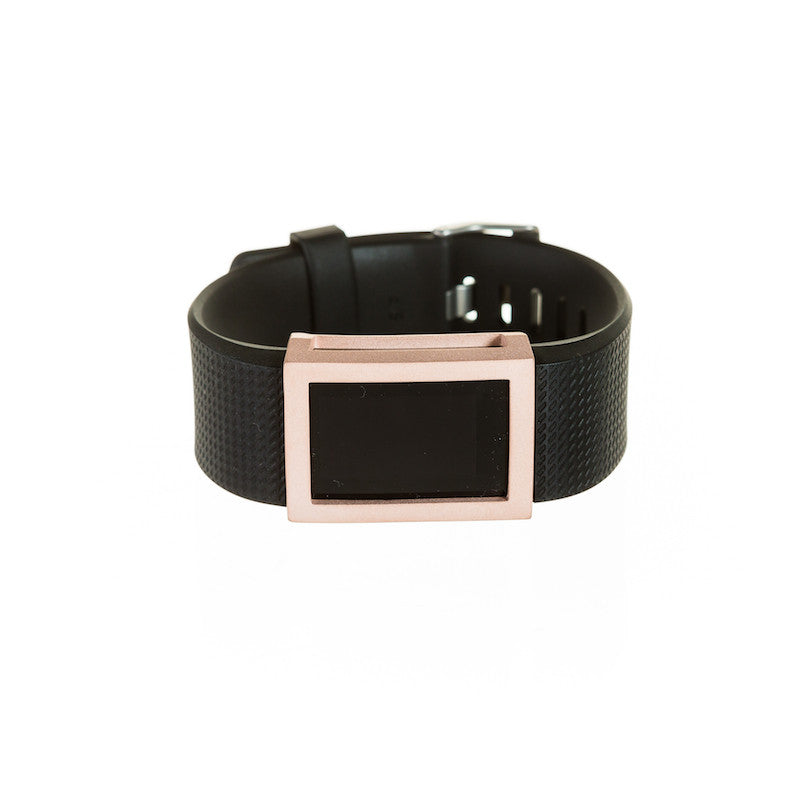 Fitbit Charge 2 with black band and bytten Madison frame accessory - satin rose gold