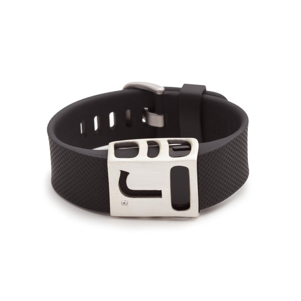 Fitbit Charge with custom monogrammed J Chisel slide by Bytten - satin silver