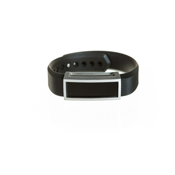 Silver Fitbit Alta with black band and Bytten Madison frame accessory - satin silver
