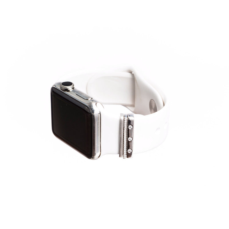 Silver Apple Watch with Bytten mini Glam Stack on white band - silver