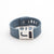 Blue Fitbit Charge with custom monogrammed J Chisel slide by Bytten - satin silver