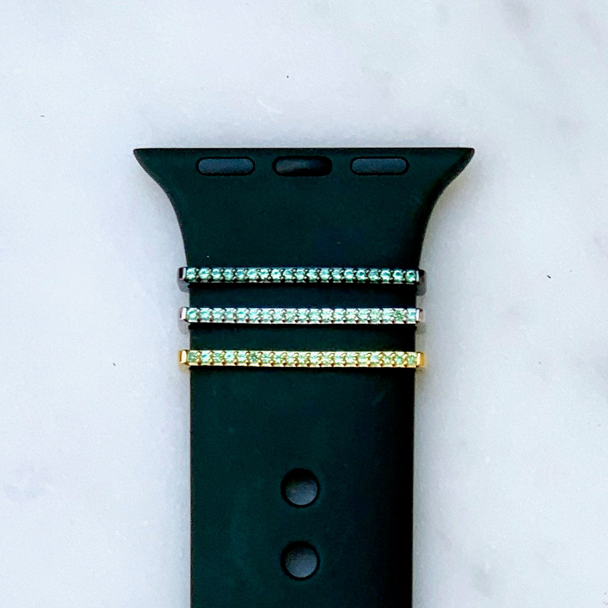 bytten tiny emerald green crystal ring for Apple Watch Sport bands, Fitbit Versa, Fitbit Sense, Classic and Infinity bands