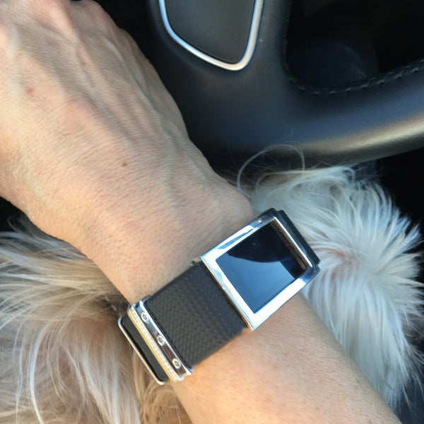 Polished sterling silver Madison Frame accessory on black Fitbit Charge 2 with Wearable Stack and Leo the dog